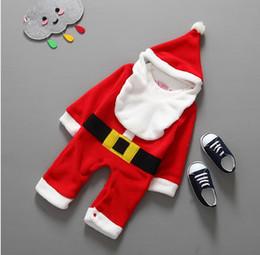 Wholesale Bibs Santa Claus - Wholesale-2015 Christmas Gifts Baby Rompers Newborn Baby Boys Santa Claus bebe fleece lining romper + hat + Bib suit New Year Baby Clothes