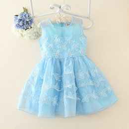 Wholesale Solid Light Blue Ball Gown - New Girls Dresses Sleeveless Beaded Flower Embroidery Ball Gown Baby Girl's Vest Dress Children Party Birthday Gift 6pcs lot K4582