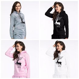Wholesale christmas outwear - 4 Colors Christmas Deer Jackets Print Sweatshirts Fashion Long Sleeve Coat Women Casual Blouses Pullover Outwear Jumper CCA7860 50pcs