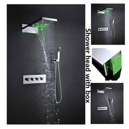 Wholesale Shower Rainfall Hand Faucet - Wall Mounted 3 Function Shower Head Rainfall Waterfall Shower Headsets with Hydro Power 4 Hand Shower Valve Faucet Bathroom Sets LED18-YM