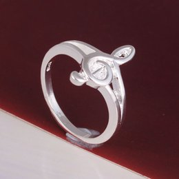 Wholesale Online Women Accessories - Wholesale- silver plated music ring jewelry factory large stock free shipping online shop women costume accessories finger rings wholesale