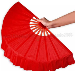 Wholesale Wedding Souvenirs China - NEW 41cm Solid Black Red Folding Hand Fans Craft Dance Performce Wedding Party Souvenir Decoration Supplies MYY