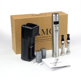 Wholesale E Cigarette Display Metal - High Quality Vamo V5 Starter Kit with LED Display Varible Voltage Mechanical Mod CE Atomizers Siliver Steel E cigarettes Kits