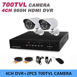 Wholesale Home Dvr Ch - 4CH CCTV monitor DVR 4 channel video recorder and 2 ch camera IR 700TVL 24LED outdoor kit home security surveillance system