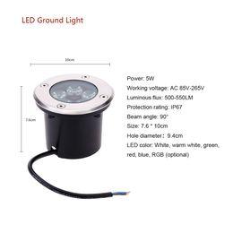 Wholesale Led Floor Tracking - 5W AC85-265V LED Outdoor Garden Ground Path Floor Underground Buried Yard Lamp Spot Landscape Light IP67 Waterproof order<$18no track