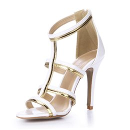 Wholesale White High Heels Size 11 - 2016 Real White Wedding Shoes Cheap Bridal Shoes T Strap High Heels Open Side Plus Size Ladies Women Sandals Cheap Modest Fashion Hot