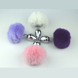 Wholesale Anal Bunny Tail - Small Size Metal Rabbit Tail Anal Plug bunny 4 Color Butt Plug Metal Booty Beads Stainless Sex products GS053
