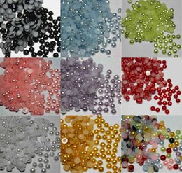 Wholesale Pearls Flatback - 2000pcs 4mm Half Round Pearl Mixed color Bead Beads Flat Back Flatback For Craft