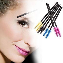 Wholesale hair color brushes - Factory Price Disposable Eyelash Brush Mascara Wands Applicator Makeup Cosmetic Tool Pink Blue Yellow Black color