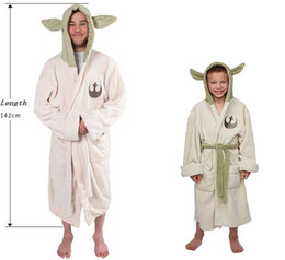 Wholesale Adult Unisex Bathrobe - Star Wars Lucasfilm Yoda Jedi Ear Fleece Hooded BathRobe Dressing Gown Adult Kids Childs Pajamas Sleeping Wear