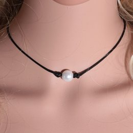 Wholesale Pearl Wax - Wholesale- 2017 New Fashion Black Wax Rope Women Choker Necklace White Perfect Imitation Pearl choker necklace Pearl Jewelry
