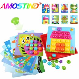 Wholesale Picture Puzzles - 46pcs Baby Early Educational Toys Pegboard Mushroom Nails Jigsaw Composite Picture Diy Creative Mosaic Mushroom Kit Puzzles Toys
