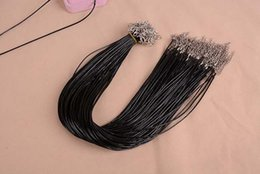 Wholesale Diy Extender - Cheap Black Wax Leather Snake Necklace Beading Cord String Rope Wire 45cm Extender Chain with Lobster Clasp DIY jewelry components
