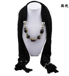 Wholesale Neck Scarf Pendants Jewelry - Women Scarves Jewelry Necklace Scarf Beads Pendant Shawl Neck Wraps