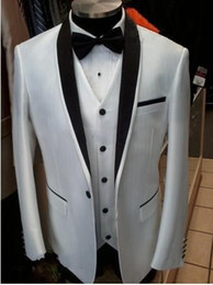 Wholesale Vest Bowtie - Custom Made White Groom Suits For Wedding One Buttoms Gentleman Groomsmen Tuxedos Best Man Suit (Jacket+Bowtie+Vest)