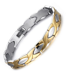 Wholesale Magnet Stones - Fashion Men Women's Silver Gold 316L High Polished Stainless Steel Health Care anti-radiation magnet Stone Link Chain bracelet Bangle