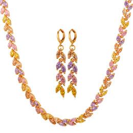 Wholesale Zircon Necklace Sets - Trendy Necklace Earrings Set 18K Gold  Platinum Plated Zircon Stone Cute Floral Tourmaline Jewelry Set For Women MGC NE5235
