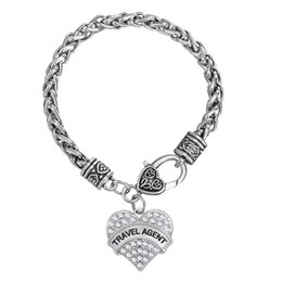 Wholesale Wholesale Thick Silver Chains - 10pcs lot Word Travel Agent Heart Pendant Charm Thick Wheat Link Chain Bracelet For Handmade Jewelry (BH110254)