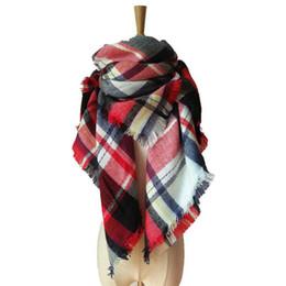 Wholesale Stylish Pashmina - Stylish Warm Blanket Scarf Gorgeous Wrap Shawl Women Plaid Scarves Grid Tassel Wrap 55inch Tartan Cashmere Winter Neckerchief Lattice