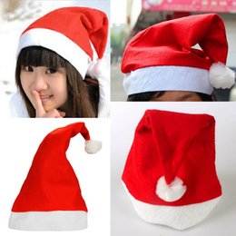Wholesale Santa Claus Costume Boys - Christmas Decorations Santa Claus Hats Cartoon Baby Kids Adults Christmas Party Cosplay Costume Props Fashion Non-woven