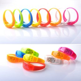 Wholesale Luminous Wristbands - Music Activated Sound Control Led Flashing Bracelet Light Up Bangle Wristband Club Party Bar Cheer Luminous Hand Ring Glow Stick OTH662