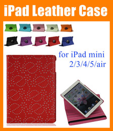 Estuches bling para ipad mini online-Para iPad mini ipad Air 2 3 4 5 360 grados Rotatorio Rotar la cubierta del soporte Maple Diamond Bling Rhinestone Flower Flip PU Funda de piel PCC026