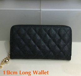 Wholesale Metal Credit Card Wallets - 2018 Women's Fashion Long Wallet Black Genuine Caviar Leather zipper Purse Card Holder Metal Ball Brand Quality women Hand bag Clutch
