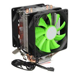 Wholesale Intel Am3 - Wholesale- Brand New Dual Fans Hydraulic Cooling Heatpipe Heatsink Radiator For Intel LGA775 1156 1155 AMD AM2 AM2+ AM3 for Pentium