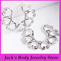 Wholesale Clip Nipple Rings - SILVER HEART CIRCLE STAINLESS STEEL CLIP ON NON PIERCING NIPPLE SHIELD RINGS