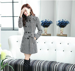 Wholesale Trench Coats For Ladies - Plover case Double Breasted Trench Wool Coat long Winter Jackets parka coats Outerwear for lady good qualityt
