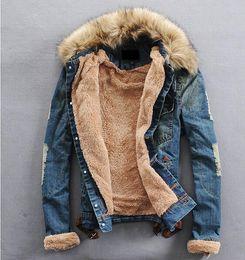 Wholesale Men Jean Jacket Winter - Fall-Free shipping New Winter Men Clothing Jean Coat outwear Fur Collar Denim Jacket men's coat jackets men jacket winter
