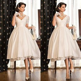 Wholesale tea length wedding dress empire - 2017 Tea Length Generous Wedding Dresses Short Seeves V Neck Lace Satin Bridal Wedding Gowns Custom Made Plus Size Cheap Wedding Party Dress