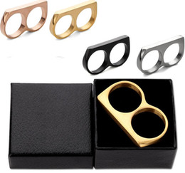 dedos de acero Rebajas Titanium acero inoxidable Lovely Punk niñas y mujeres Shining Retro Double Fingers Connector Knuckle Ring Mejora estilo con caja de regalo