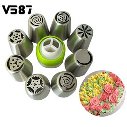 Wholesale Icing Decorations - 9Pcs set Russian Tulip 8Pcs Icing Piping Nozzles+1Pc Confectioner + 3Pcs Piping Bags Cake Decoration Decor Tips Tool