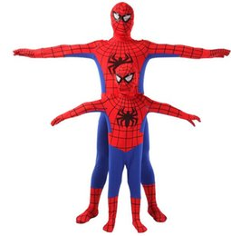 Wholesale Mascots Spiderman - Spider Man Spiderman Mascot Costume Fancy Dress Adult And Children Halloween Costume Red with Blue