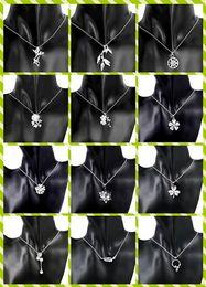 Wholesale Lantern Lotus - Mix 16 style 30pcs lot 925 silver necklace zircon heart lantern lotus chrysanthemum plum blossom clover pendant charm necklace