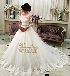Wholesale Sequin Laciness - Elegant A-Line Wedding Dresses 2015 Laciness Bateau Neck Ivory Tulle 3 4 Long Sleeves Appliques Covered Button Back Court Train Bridal Gowns