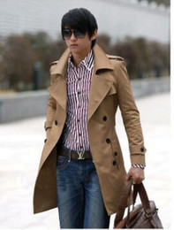 Wholesale Mens Black Trench - Fall- High quality Fashion brand men winter trench coat mens long jacket outerwear