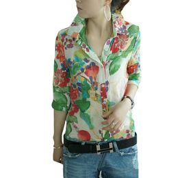 Wholesale Woman Flower Print Shirt Vintage - Vintage Fashion Women Shirt Colorful Floral Flower Print Turn-down Collar Button Chiffon Blouse Tops
