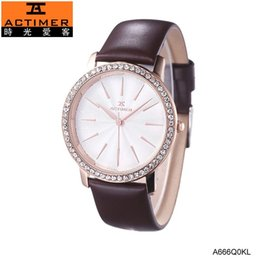 Wholesale Time Watch Love - Genuine love time off brand exquisite mosaic crystal stone sand shell surface waterproof leather strap quartz watch female form.