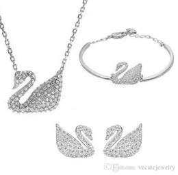 Wholesale Indian Silver Earrings - Gold Silver Plated Austrian Crystal Swan Jewelry Set for Women Made With Swarovski Elements Animal Jewelry Sets Wedding Jewelry 3pcs set
