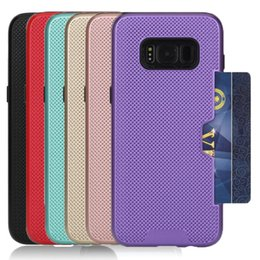 Wholesale Heat Cards - For Samsung S8 Case Mesh Heat Radiaing Hard PC Back Cover with Card Pocket For Galaxy S8 S8plus