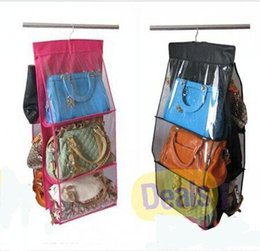 Wholesale Silk Hangers - Fashion 6 Pocket Hanging Bag Purse Storage Organizer Closet Rack Hangers, 6pcs lot Free shipping