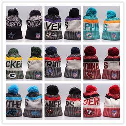 Wholesale Beanie Beanies - Newest Fashion Football Beanies Skull Caps 2017 Winter Men Women Sport Fashion Warm Hat