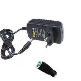 Wholesale Light Connectors - 12V Power Supply Adapter 2A Transformer US EU UK Plug Input AC 110V 220V 240V + Female Connector for 3528 5050 LED Flex Strip Light Lighting