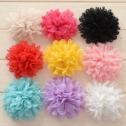 Wholesale Eyelet Lace Bow - 60pcs Eyelet Fabric flower girls hair bows baby flower for hairband headband kids hair accessory hairclips