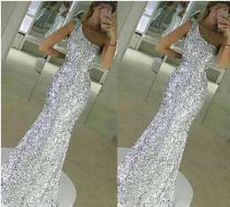 Wholesale One Shoulder Sparkled Prom Dresses - Sparkle Silver Prom Dresses Sequins Lace Long Mermaid Sleeveless One Shoulder Floor Length Formal Evening Dress Bling Party Gowns