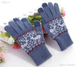 Wholesale Touch Gloves Deer - Free Shipping Women Men Fashion Rabit Fur Knit Touch Screen Gloves Deer Draft Chirsmas Gift For Capasitive Device iPad iPhone 6