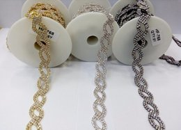 Wholesale Wholesale Sew Rhinestones Cheap - Wholesale-DIY 5Yard New Fashion Cheap Gold Rhinestone Trimming Chain Bridal Costume Applique,applied to Sewing Garment Bags Shoes RC-1103