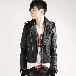 Wholesale men leather down jacket - Fall-men's fashion leisure turn-down collar sim faux leather jacket free shipping 2P3